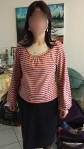 tee shirt tendance couture encolure froncée