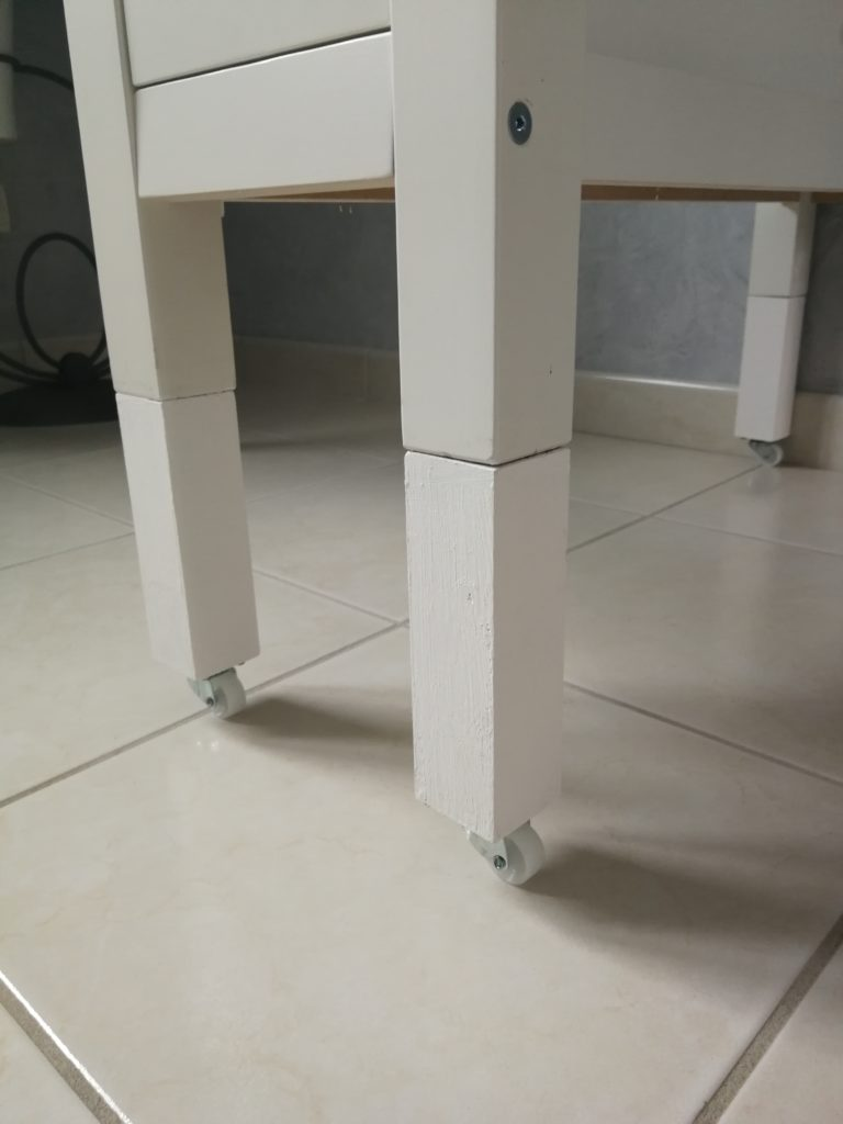 rehaussement pied table de coupe ikea norden